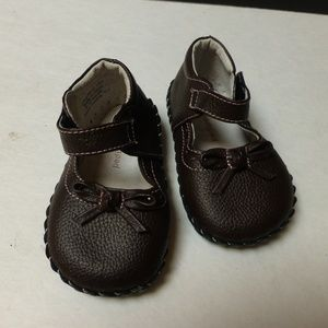 Pediped  brown shoes strap and sweet bow Sz 6/12m